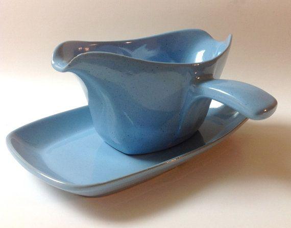 Vintage Frankoma Robin Egg Blue Gravy Boat and by TheDishGarden