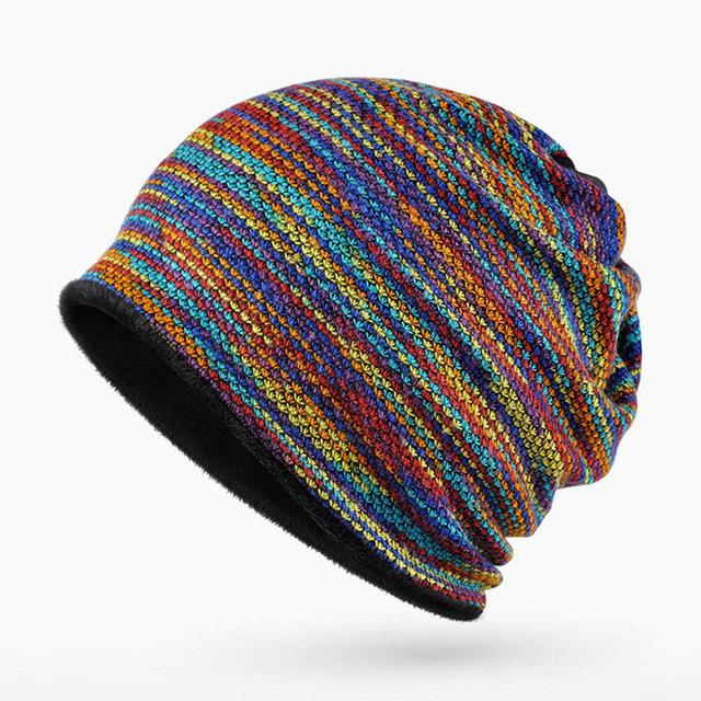 UNISEX HAT MENS WOMANS KNIT KNITTED BEANIE RETRO COOL DIAMOND BLUE
