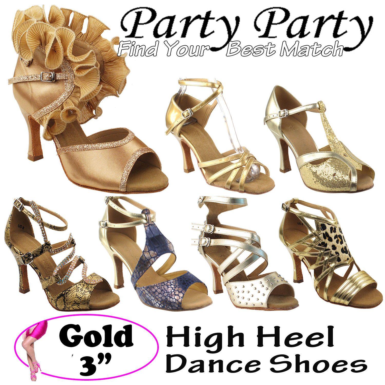 Ballroom 152340  Party Party oro 3 High High 3 Heel Dance scarpe Salsa   de5202