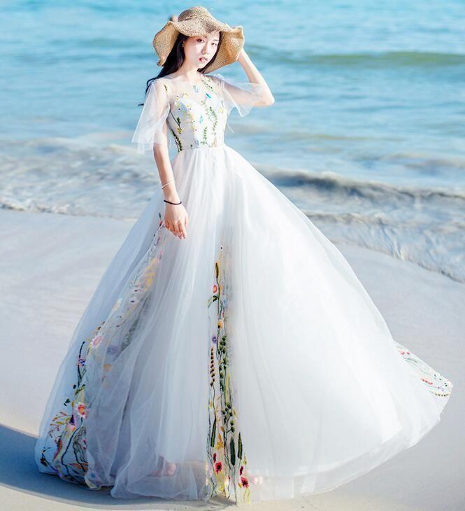 Women\'s Embroidered Floral Princess A-Type Maxi Wedding Beach White ...