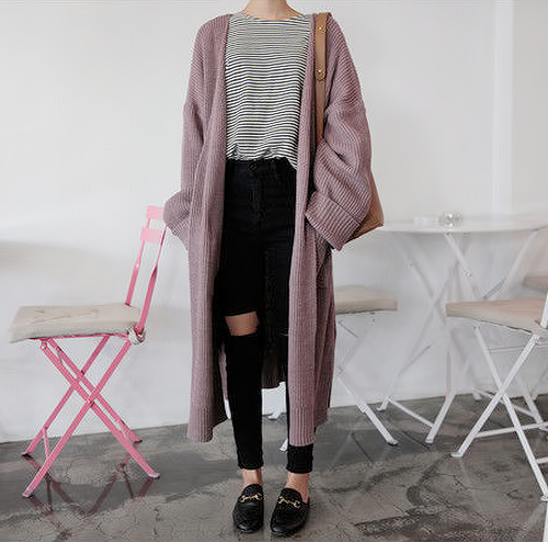 "힘내 — liliest: long chunky cardigan use code ""liliest""..."