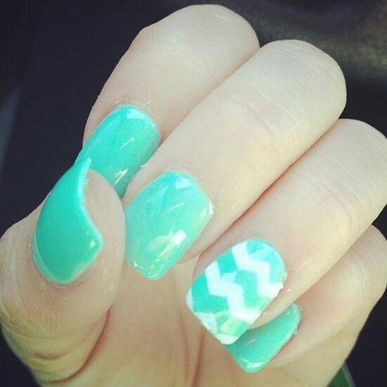 Beautiful Minty Fingernail Polish Nail Ideas Pinterest Cute