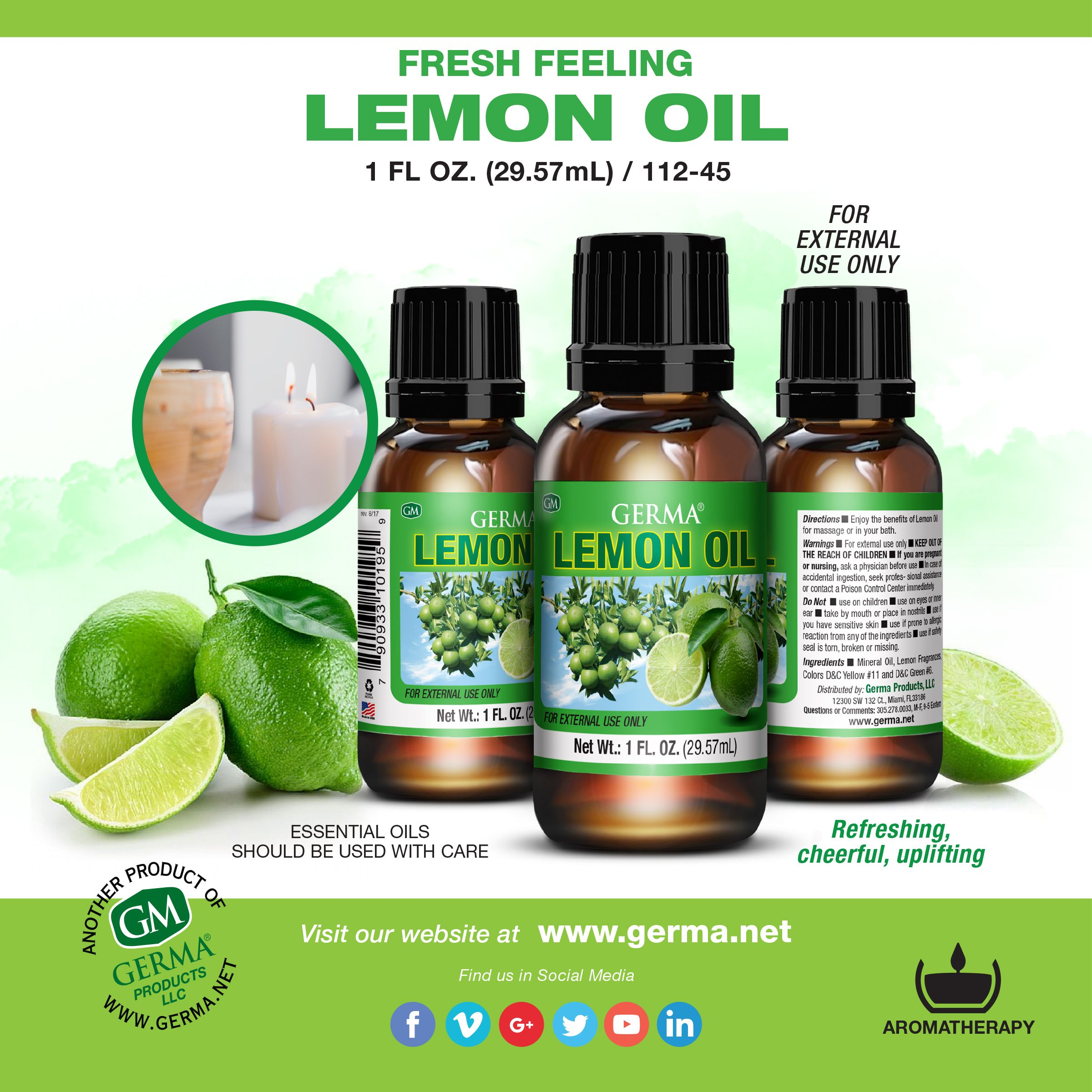 Germa lemon oil fresh therapeutic scent for aromatherapy