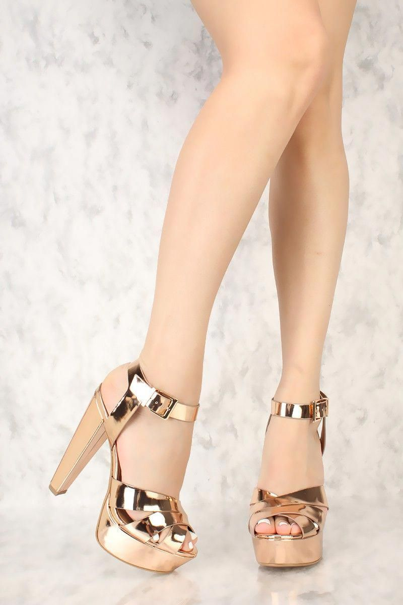 7dd8e4fdce3e3 Rose Gold Strappy Criss Cross Peep Toe Chunky High Heels Patent Faux Leather   Promheels