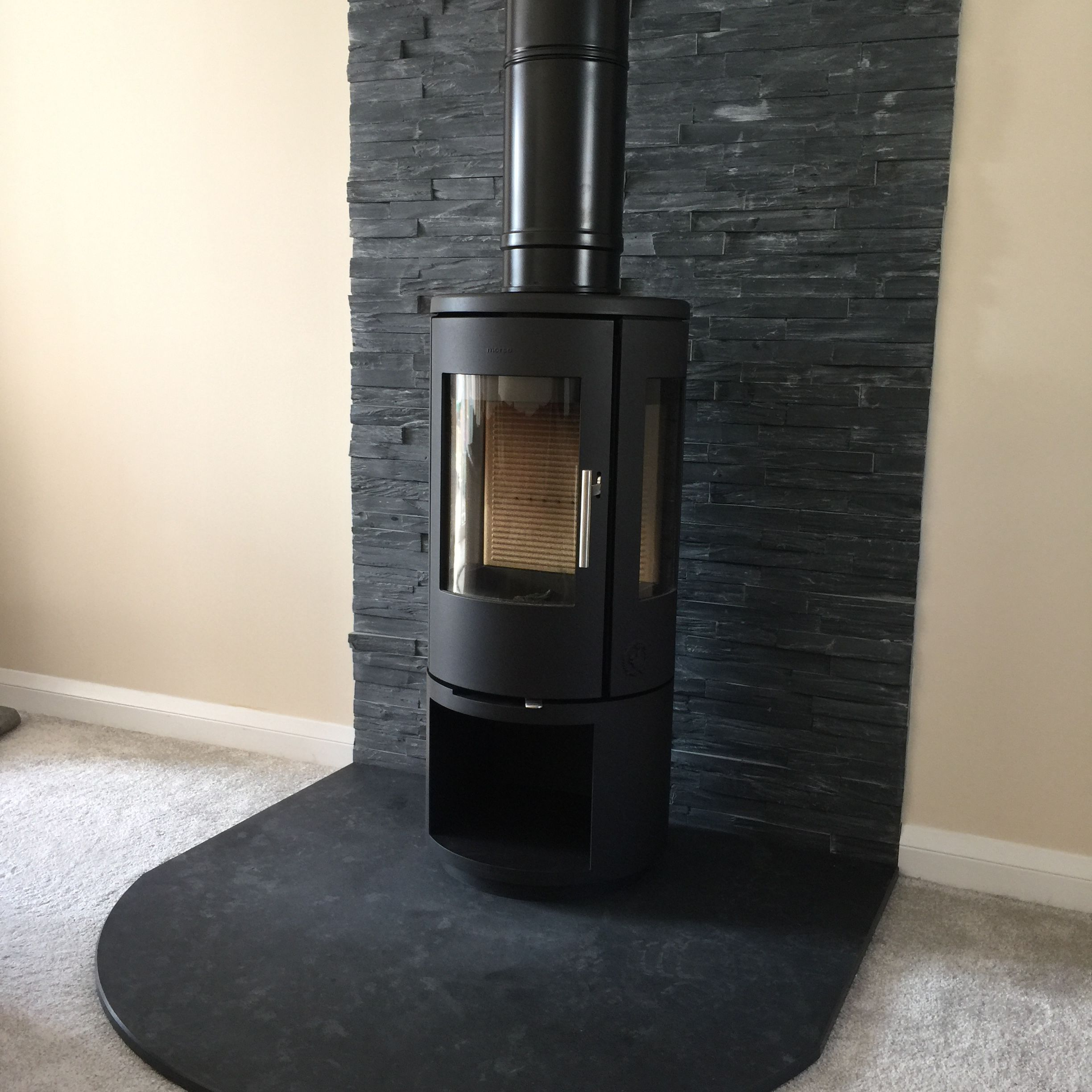 morso 6143 with slate hearth and slate wall cladding www
