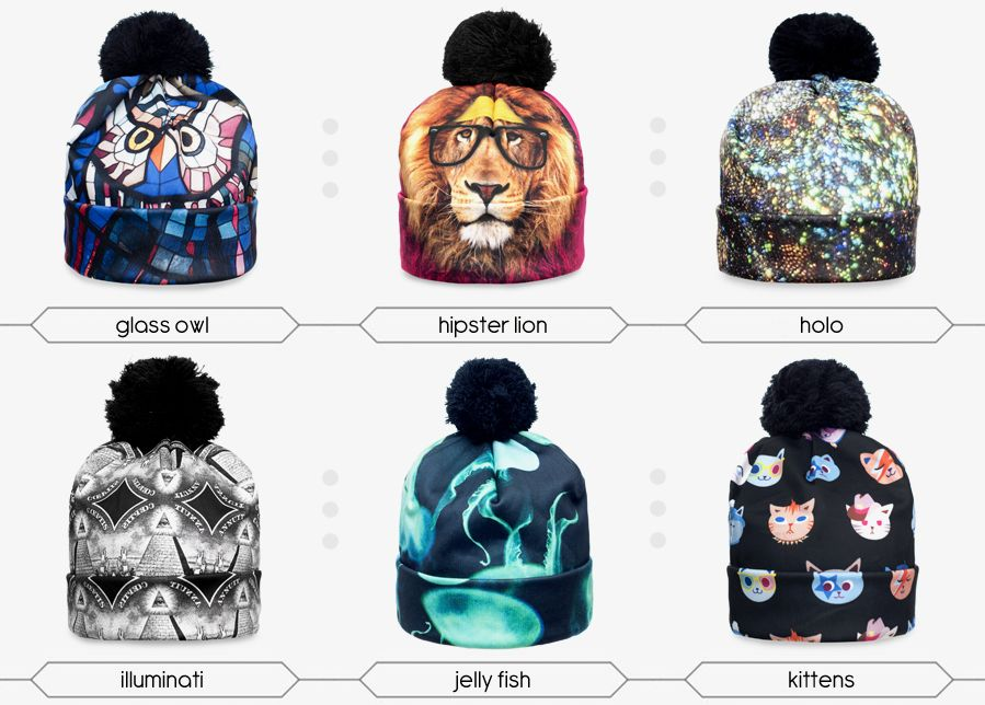 beanie pompon print winter knitted hat unisex different print fullprint 3D  print digital print ee1cc958d55