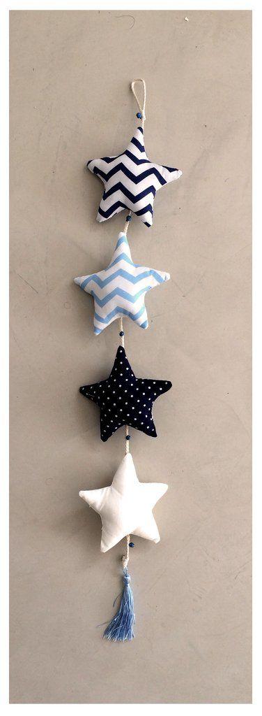 M vil de estrellas azul celeste y blanco xmas for Manualidades souvenirs navidenos