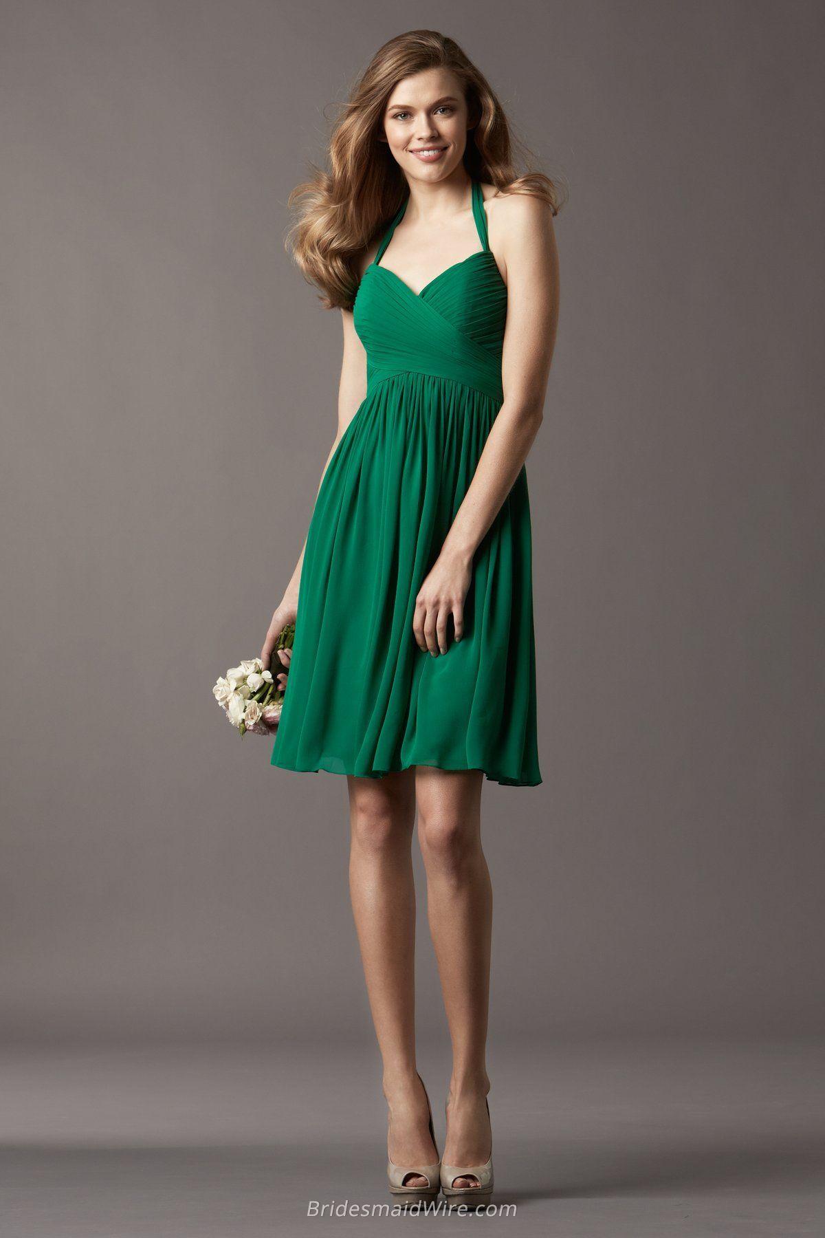 Trendy Green Chiffon Halter Sweetheart A Line Short Bridesmaid Dress