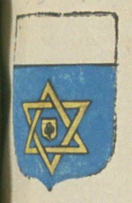 François DE BOYER, viguier de la ville d'Apt. Porte : d'azur, à deux triangles entrelasés d'or, enfermant un écusson, de même, chargé d'un trèfle de sable ; et au grand écu, un chef d'argent | N° 33
