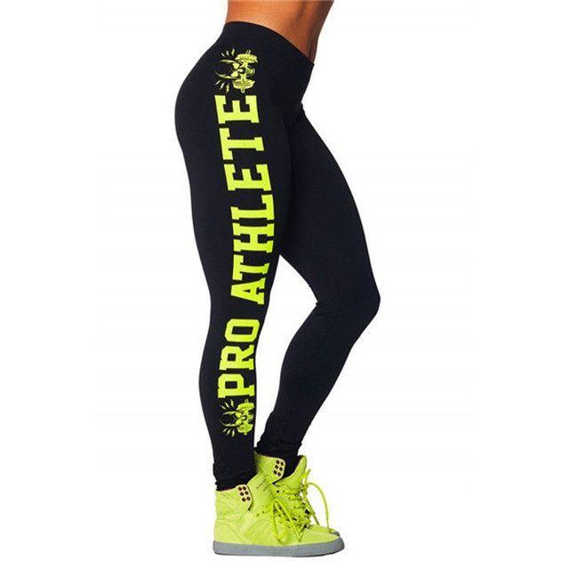 Letter Printing Sporting Leggings High Elastic Hip Exercise Dancing Fitness Leggings Fashion Side Letter Legging Pants