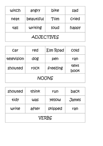 nouns  verbs  u0026 adjectives ks2 activities by