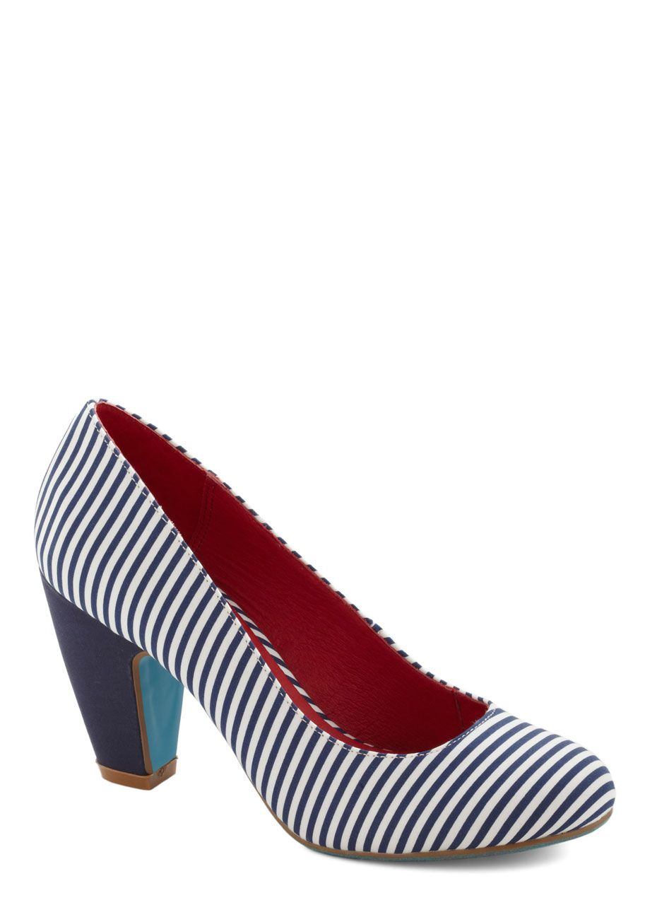 c7715dc79876 Believe It Or Nautical Heel by Chelsea Crew - Stripes, Nautical, Mid, Blue,  White, Work, Leather