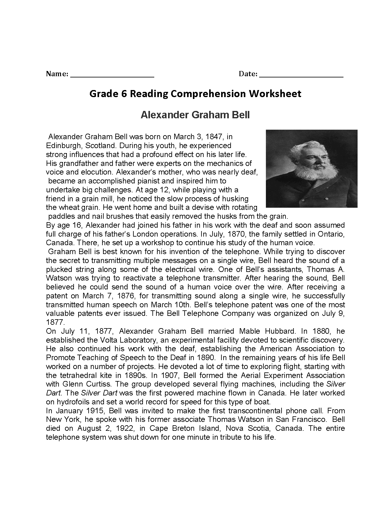 Alexander Graham Bell Sixth Grade Reading Worksheets