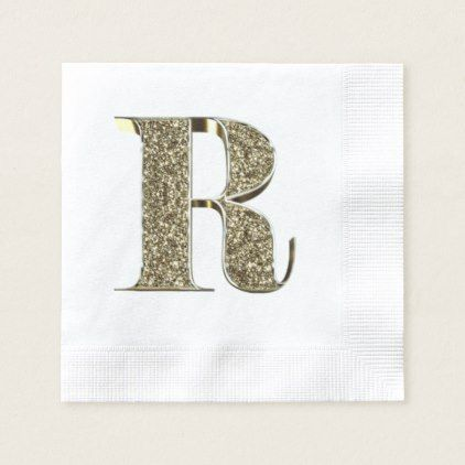 Monogrammed Letter Initial R Gold Sparkles Elegant Napkin - celebration letter