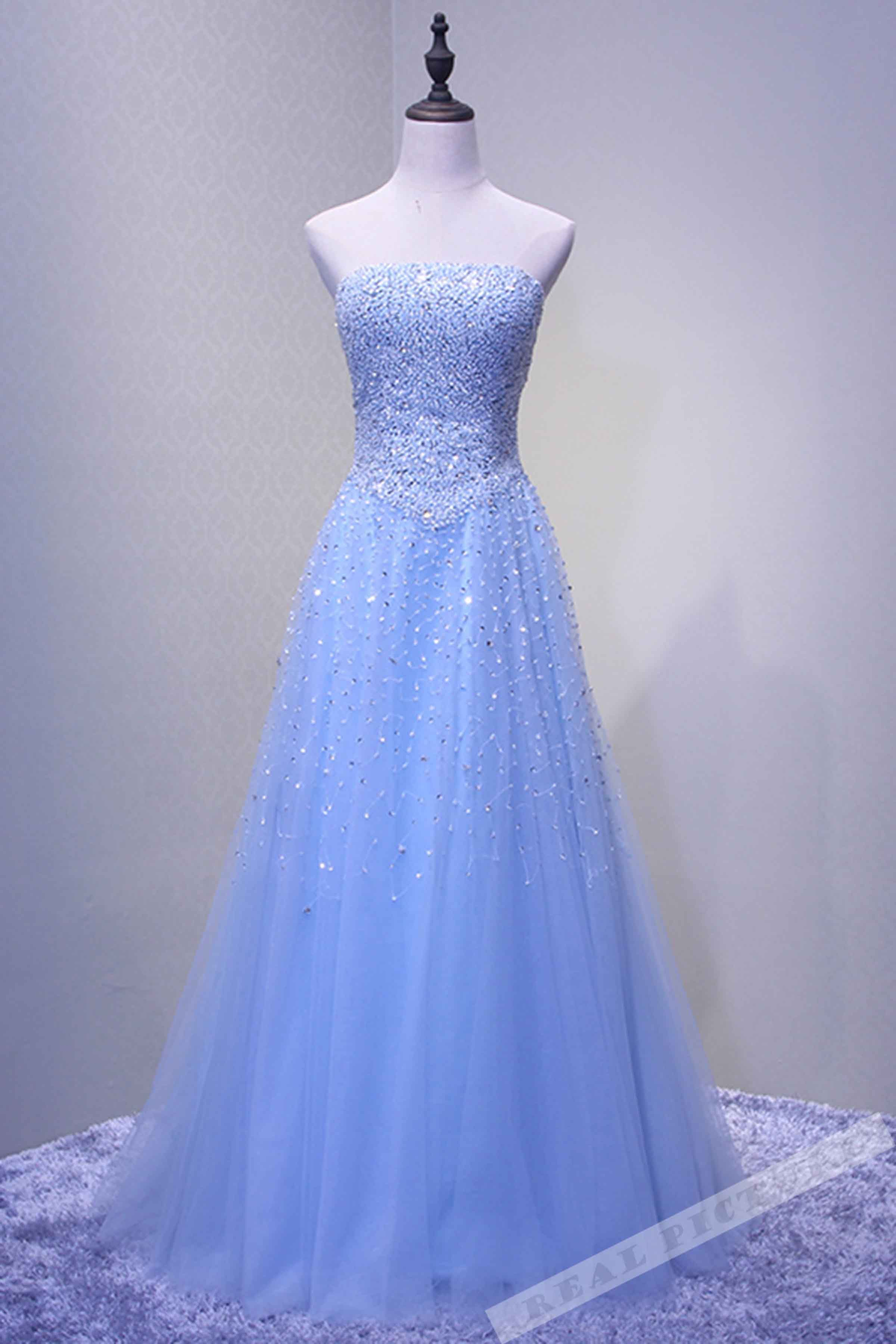 Light blue tulle sequins sweetheart A-line long prom dress #prom