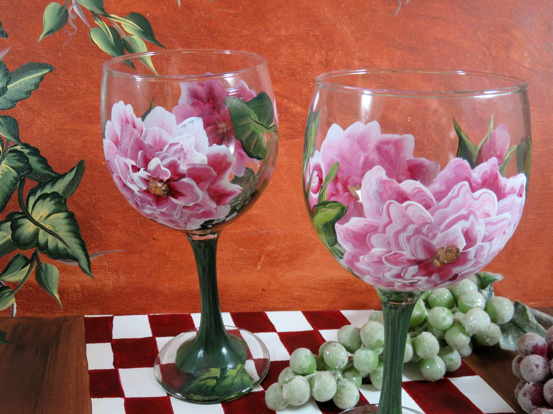 Painted Flowers Rose Wine Glasses Wine Glass Set Gifts Under 30 Wine Gifts Hand Painted Roses Wine Gla Painted Wine Glass Wine Gifts Wine Glass Set
