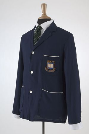 Blue blazer with 1916 Yale insignia worn by the lender's great-grandfather, Yale Class of 1916. Lent by Riley Scripps Ford.
