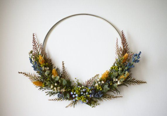 Photo of Modern Dried Flower Wreath Fall Faux Fern Ivy Amber Wheat Home Decor