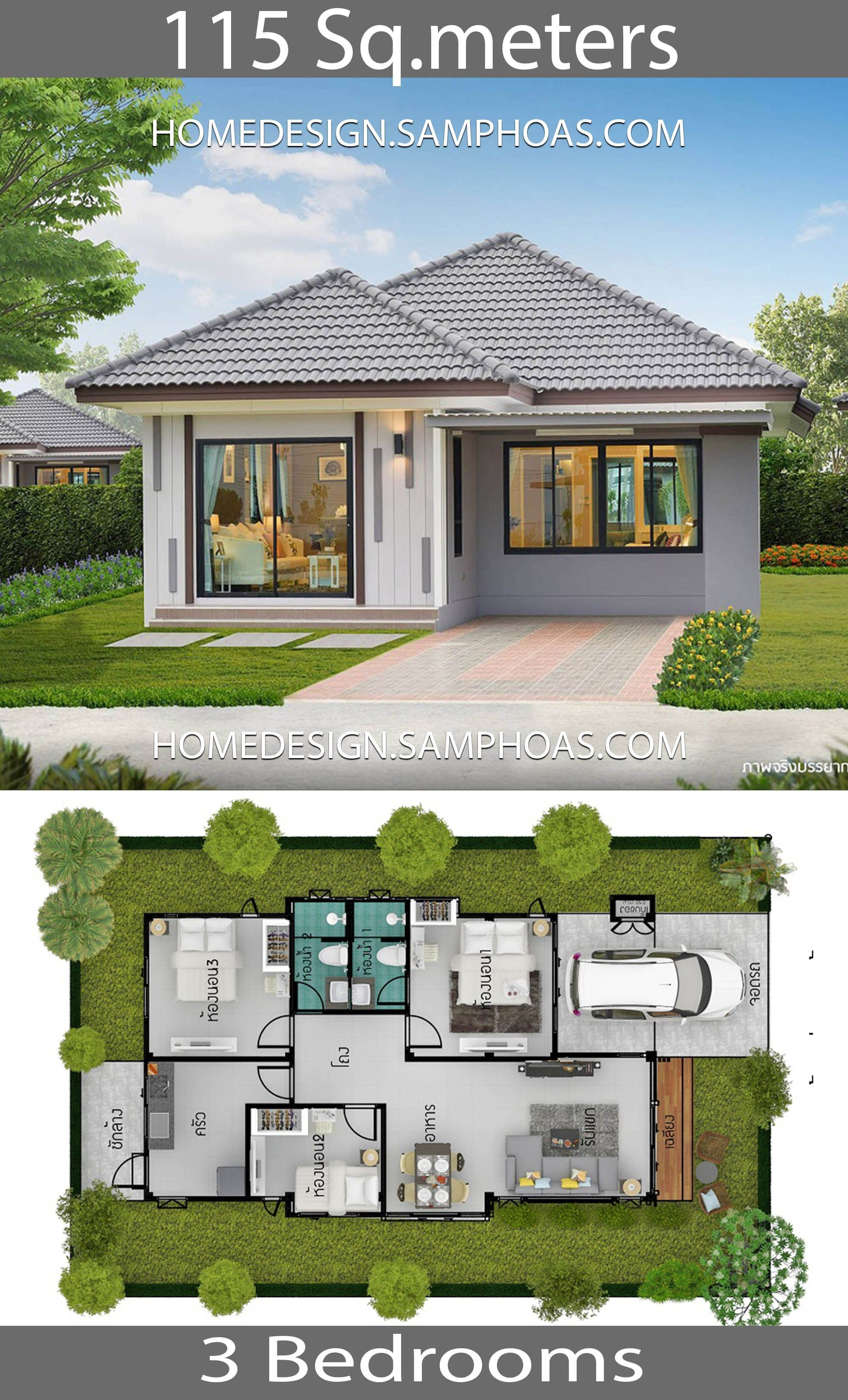 115 Sqm 3 Bedrooms Home Design Ideahouse Description Ground Level Three Bedrooms One Car Parking L Beautiful House Plans House Plan Gallery Model House Plan