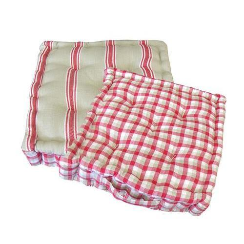 """15"""" Plush Pink White And Beige Striped Reversible Indoor"""