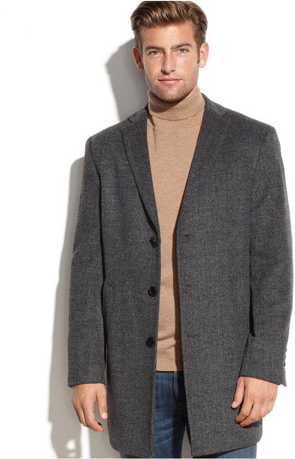 DKNY Mens Slim Fit Wool Blend Coat Wool Coats