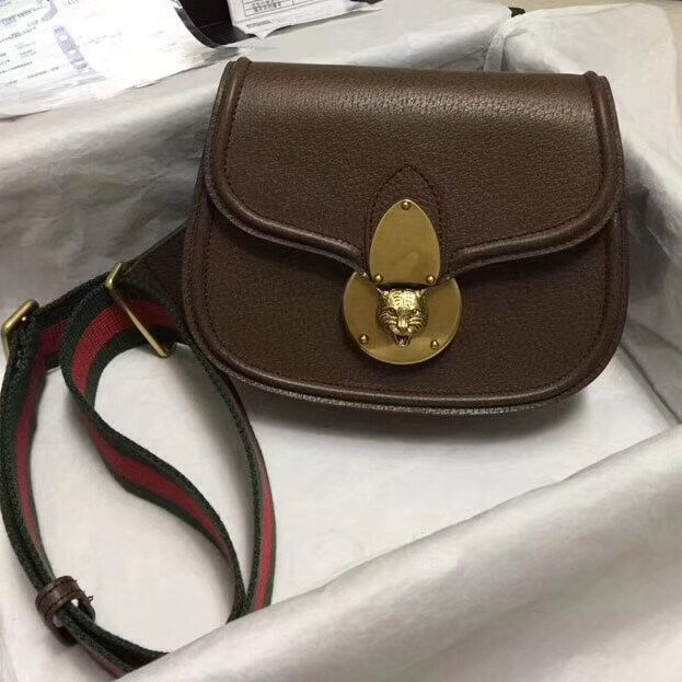 f467693169462c Gucci Leather Tiger GucciTotem Small Shoulder Bag 495663 Brown 2018 ...