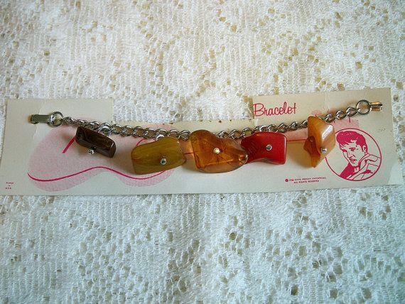 SALE! Vintage 1950s Elvis Presley Bakelite Rock Candy Bracelet Charm Bracelet