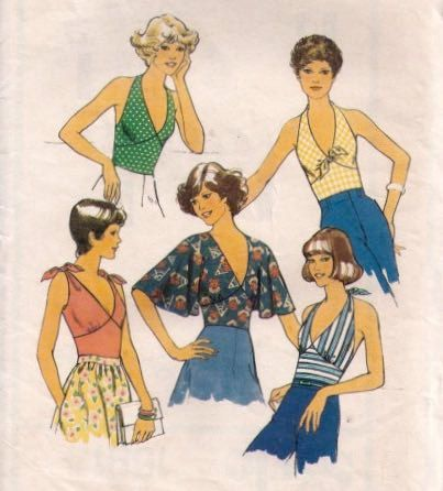 1070s STYLE 1591 Womens halter neck top Boho blouse Vintage Paper ...