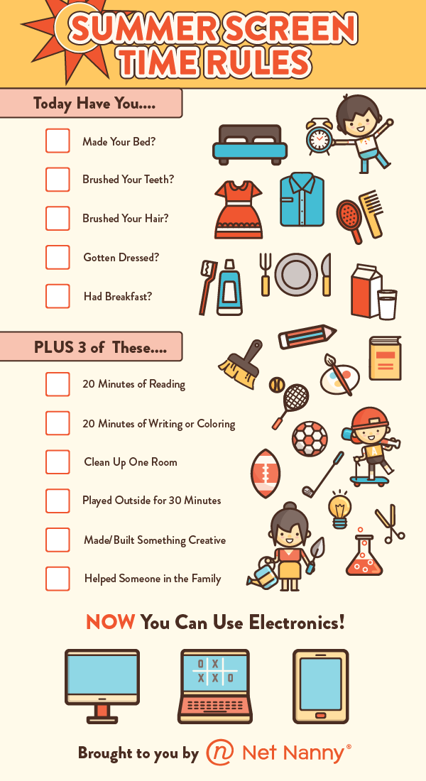 Summer Screen Time Rules | Net Nanny | Kids schedule ...