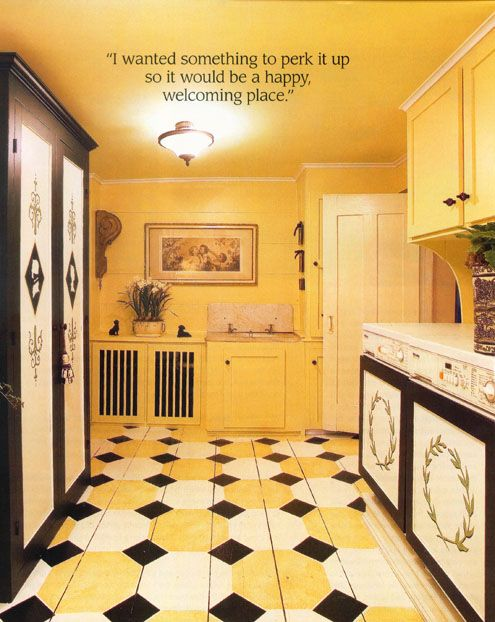 Great Tiled Kitchen Floor In Black Yellow And White