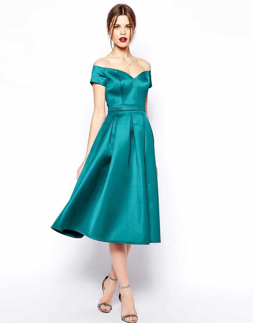 Image 1 of ASOS Satin Bardot Midi Prom | Fashion | Pinterest ...