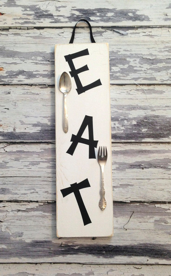 EAT Kitchen Art..upcycled spoon and fork on by SilverBellesCrafts