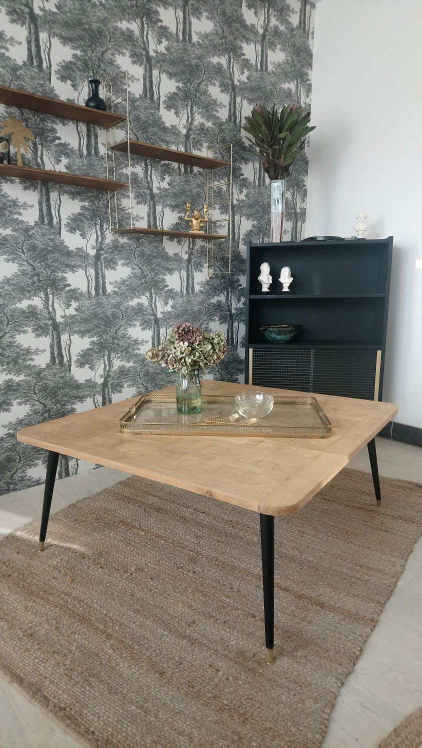 acheter en ligne a5a36 21339 table basse vintage carrée grand format en marquetterie de ...