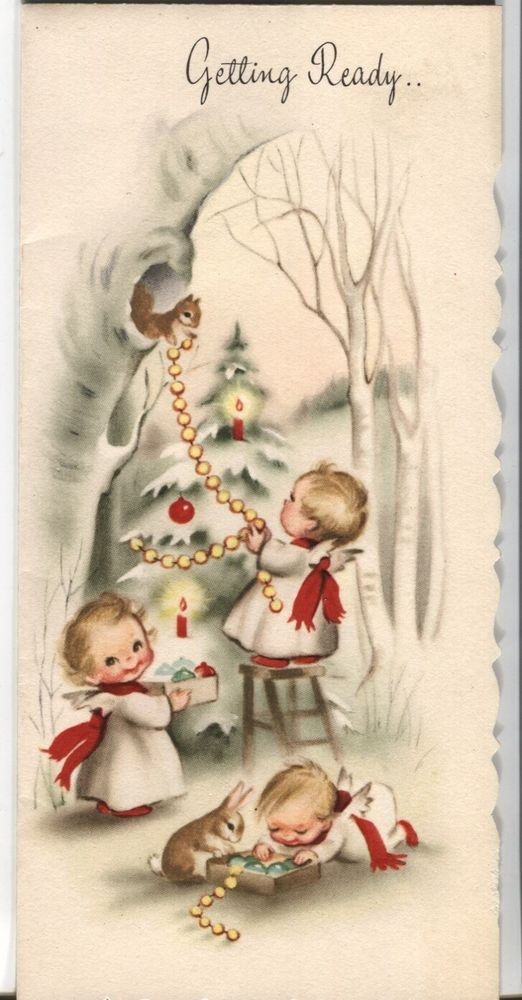 Vintage Christmas Card Little Angels And Animal Decorating Christmas Tree Vintage Christmas Cards Vintage Holiday Cards Christmas Angels