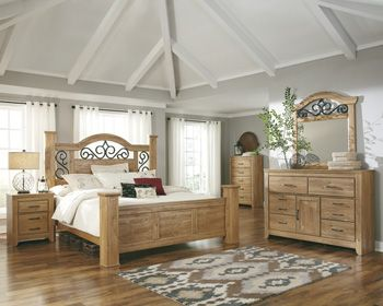 Rustic Pine Bedroom Furniture ashley furniture b252 drogan bedroom collection - featuring light