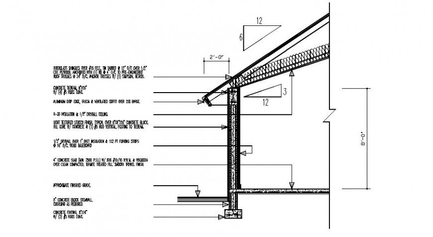 Roof section and wall detail construction drawing in dwg