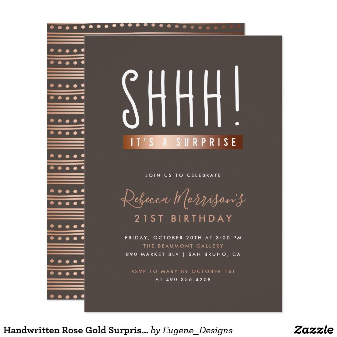 Handwritten Rose Gold Surprise Birthday Party Invitation