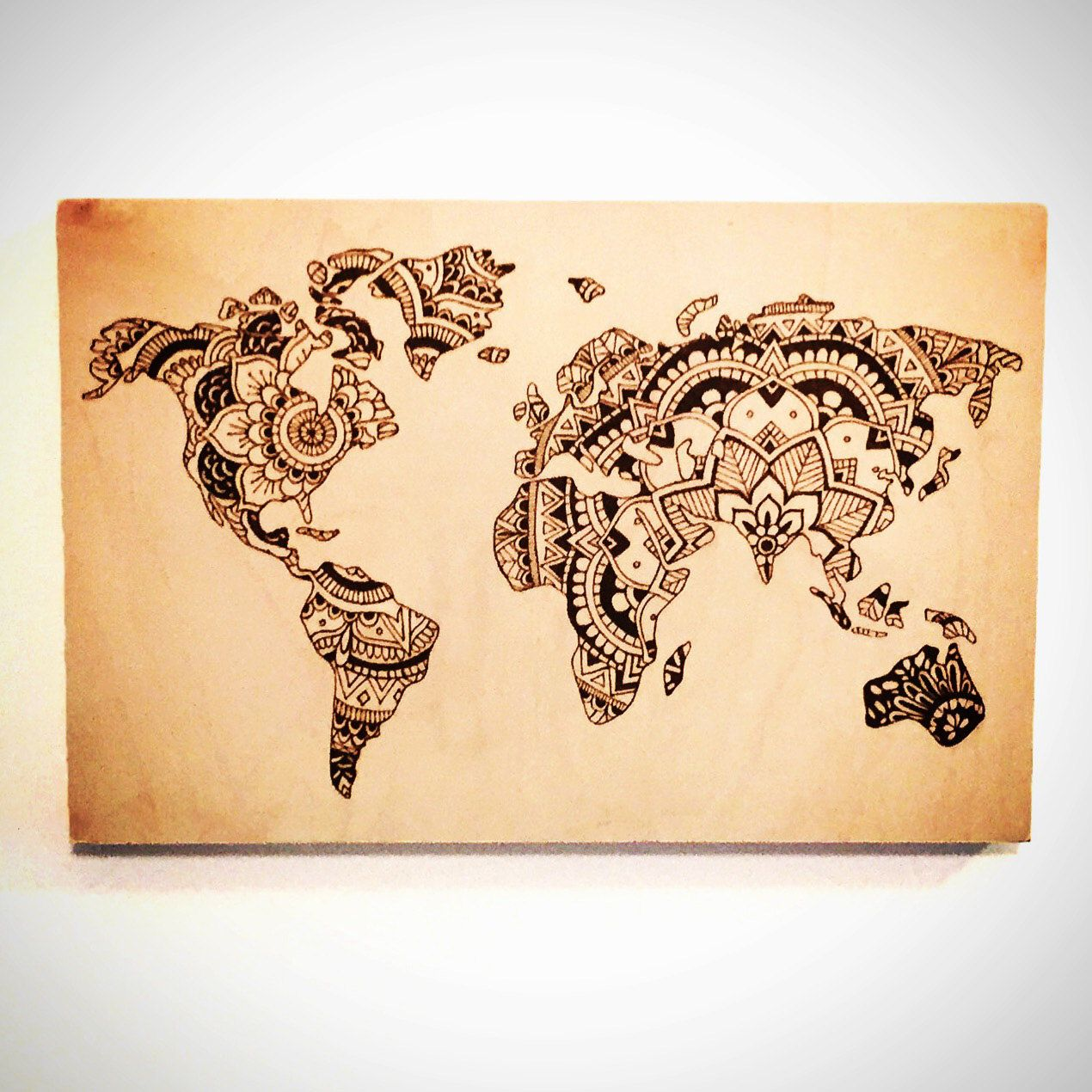 12x18 wood burned sign world map mandala home decor by 12x18 wood burned sign world map mandala home decor by thesourpeach gumiabroncs Image collections