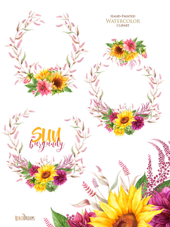 Sunflowers Dahlias Watercolor Bohemian Boho Flowers Wreaths
