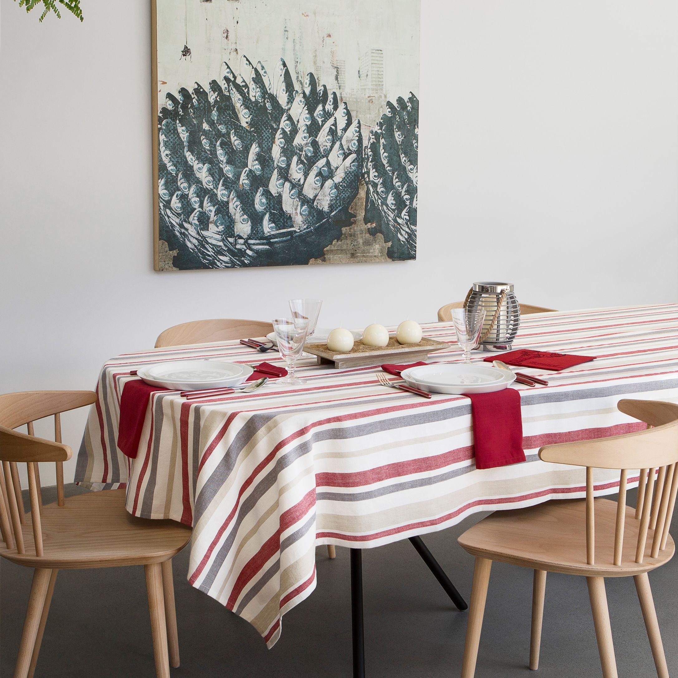 MARTHAu0027S VINEYARD TABLECLOTH | Simons #countryclub #nautical #tablecloth  #stripes #kitchen #