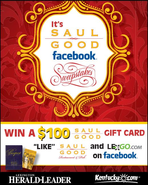 LexGo.com is giving away a $100 gift card to Saul Good Restaurant & Pub! Enter the It's Saul Good Sweepstakes now at http://woobox.com/ib5i7n.