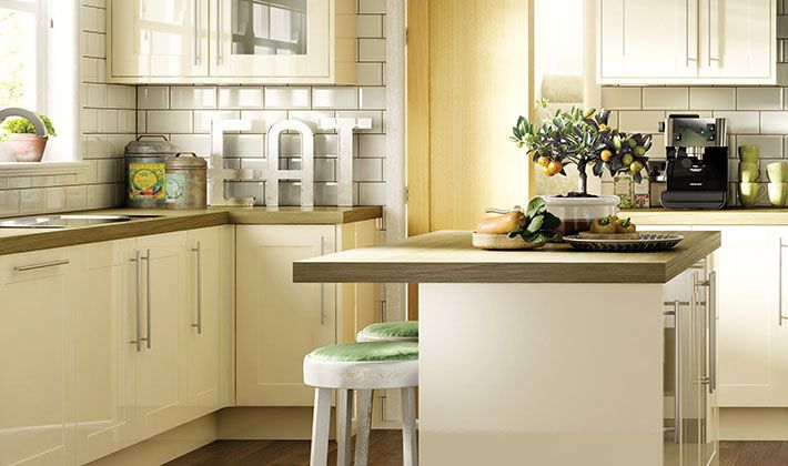 Atlanta Cream Gloss Kitchen | Wickes.co.uk