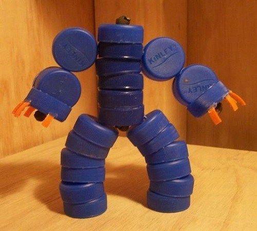 Kreasi Unik Mainan Anak Robot Robotan Dari Tutup Botol Bekas