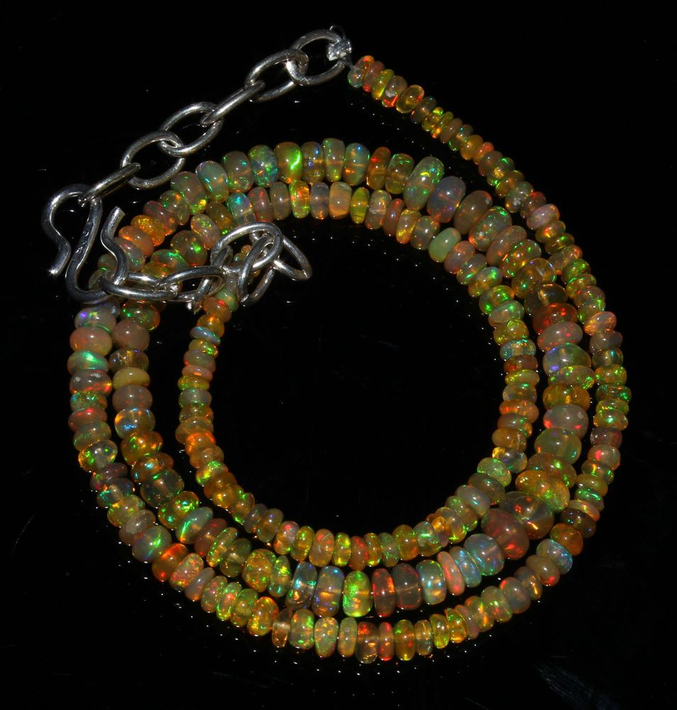 """34 Crts 1 Necklace 3to5mm 15"""" Beads Natural Ethiopian Welo Fire  Opal  60584"""