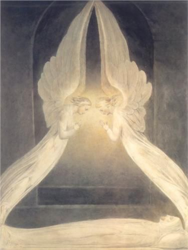 Christ in the Sepulchre by English artist William Blake (1757-1827). Christ in the Sepulcher Guarder by Angels was made out of pen, ink & watercolor in 1805-08. This comes from scene in the Bible, but most importantly this the scene where the angels get Jesus body after he was laid in the tomb. After the resurrection these two angels were found by Mary.