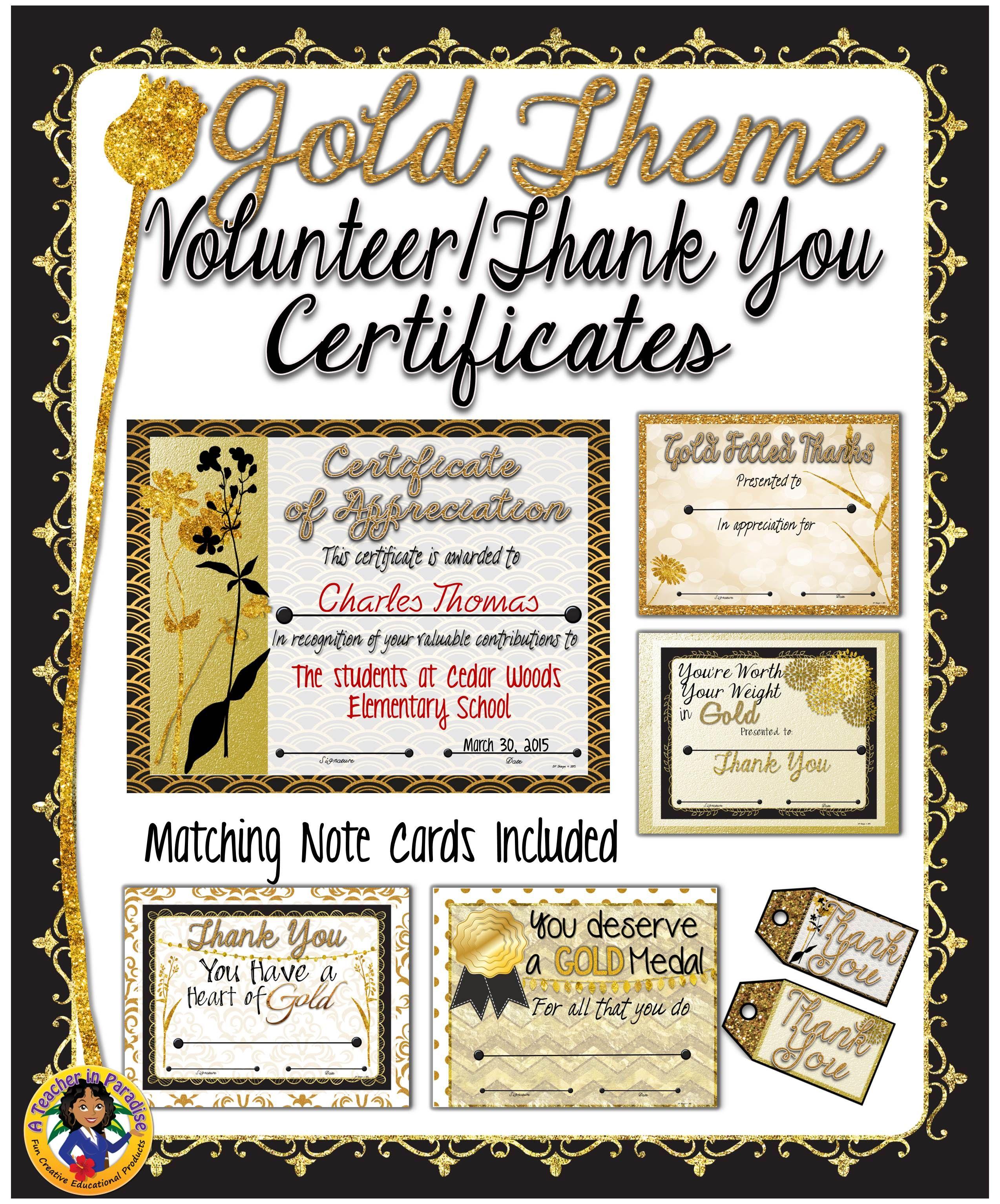 Volunteer Appreciation/Thank You Certificates {Gold Theme}   Pinterest