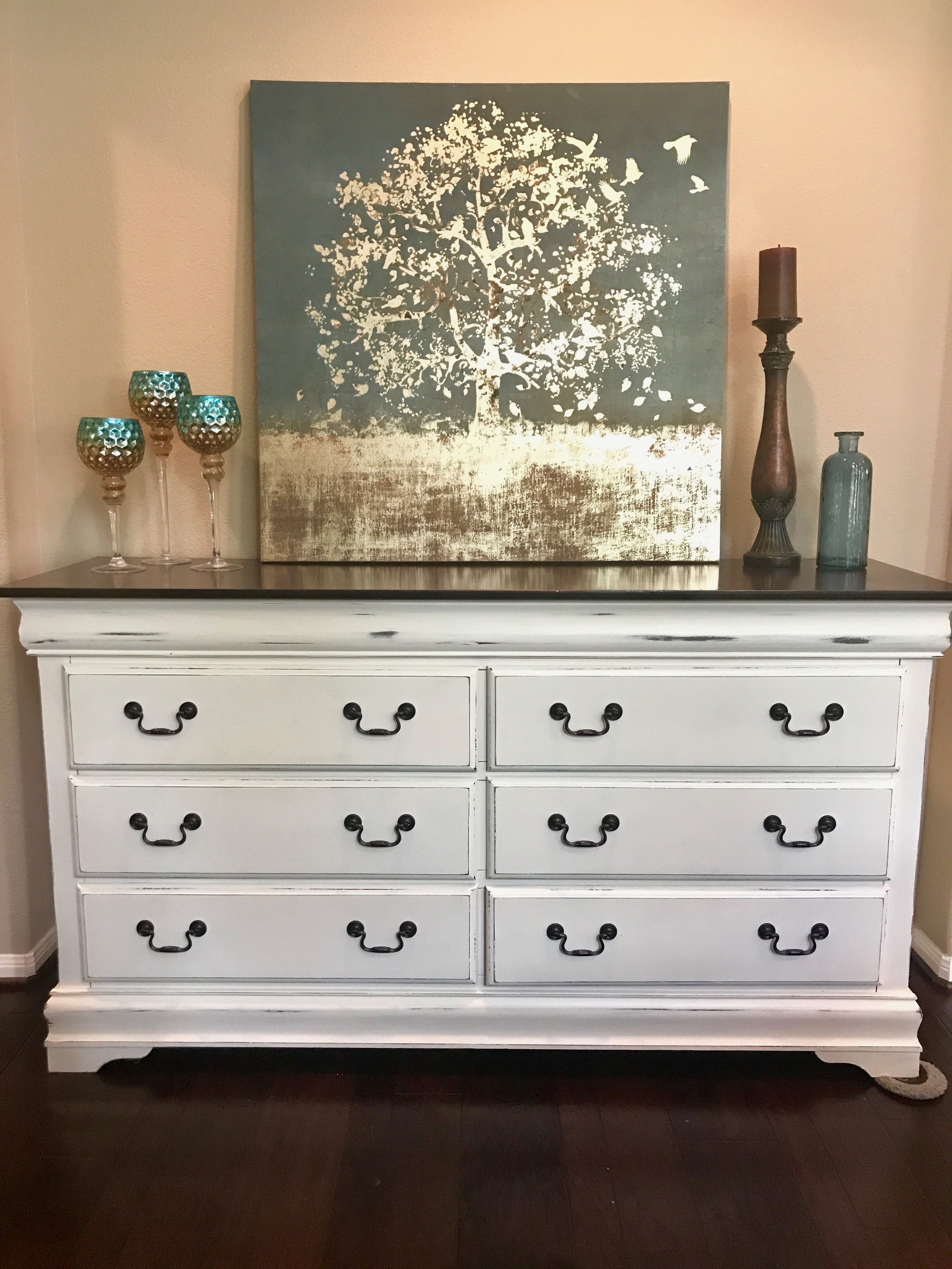 Large Buffet Or Dresser With Java Gel Stain On Top And Old White