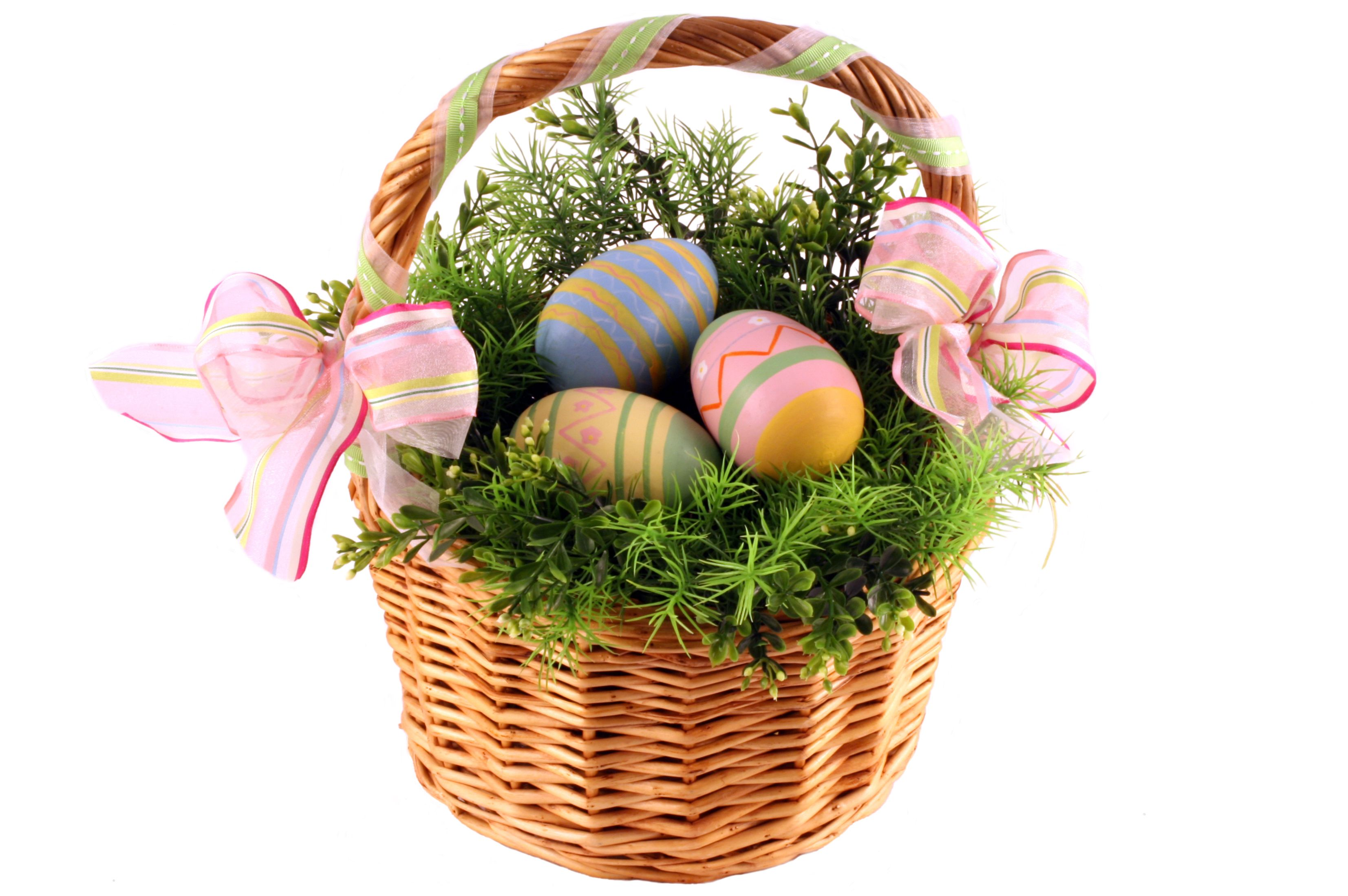 Magnificent rattan easter basket idea with chic mesh ribbons and magnificent rattan easter basket idea with chic mesh ribbons and natural green plants ornament also decorative negle Image collections