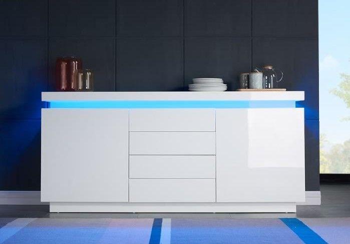 Flash Buffet Blanc Laque Avec Led Bleue Cdiscount Bons