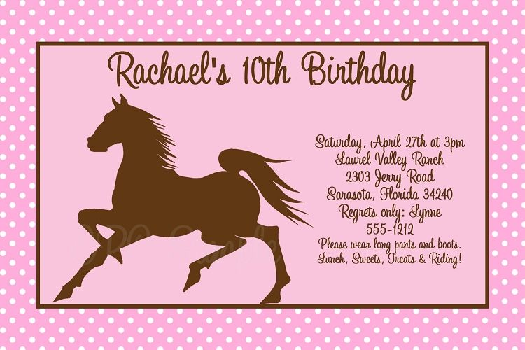 Nice Best Horse Birthday Invitations Free Templates